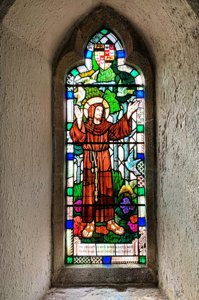 Stained glass window of St Francis in Temple Church, Bodmin Moor, Cornwall
