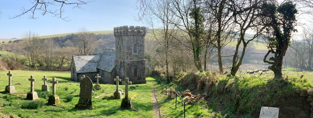 Panoramic View of Temple Church, Bodmin Moor, Cornwall