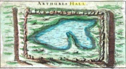 Engraving of King Arthur's Hall by John Norden