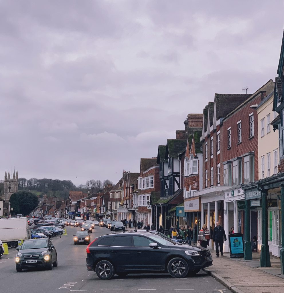View of Marlborough High Street depicting northern side with pillars and colonnaded walkway