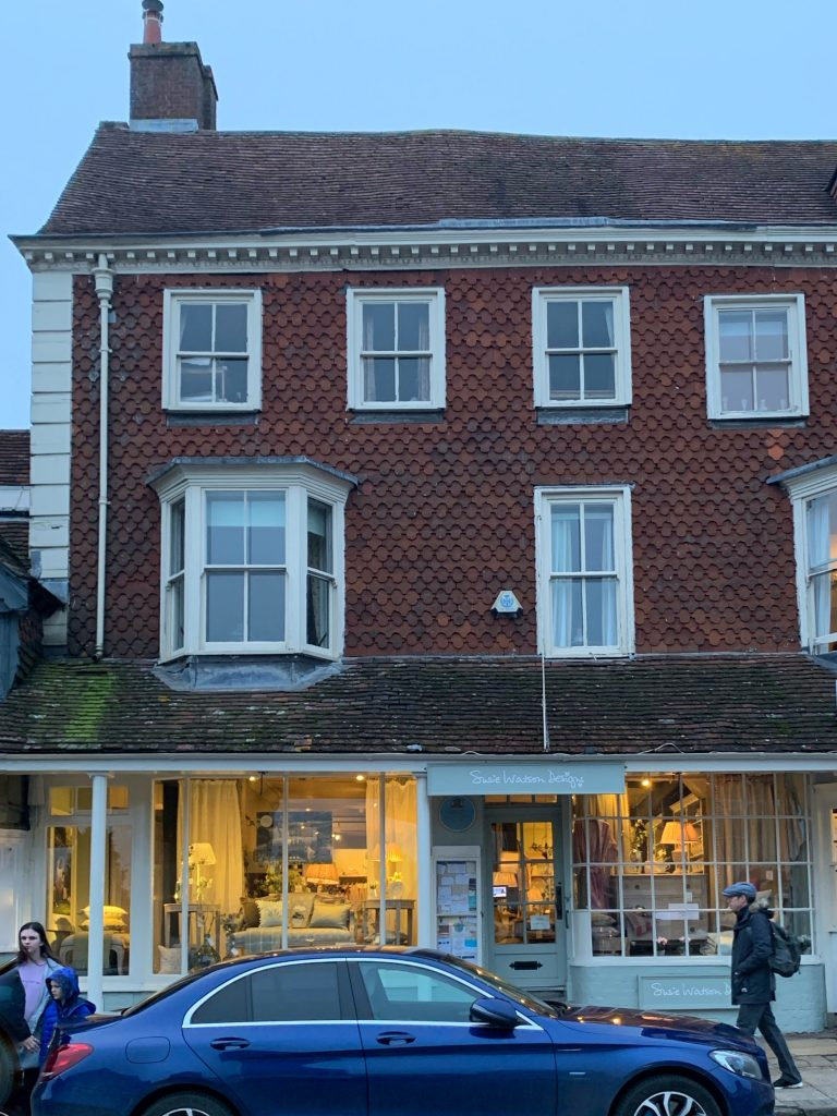 Susie Watson Design Shop Marlborough, site of Hart Inn that was visited by Samuel Pepys marked by Blue Plaque
