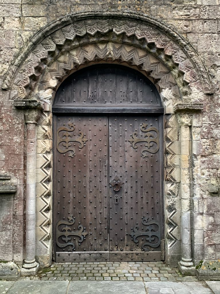 12th century doorway in west wall of 15th century tower of St Mary the Virgin, Marlborough