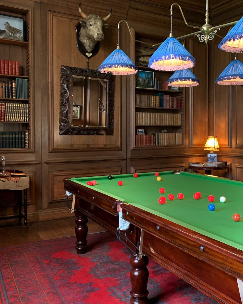 The Billiard Room at Avebury Manor reflecting a country gentleman's 'den' as it would have been after 1918