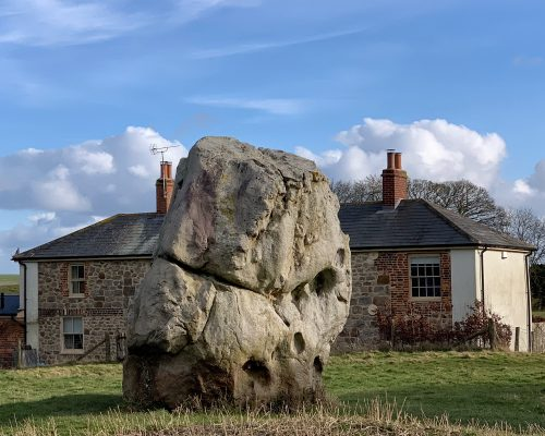Stone at Prehistoric site of Avebury in Wiltshire