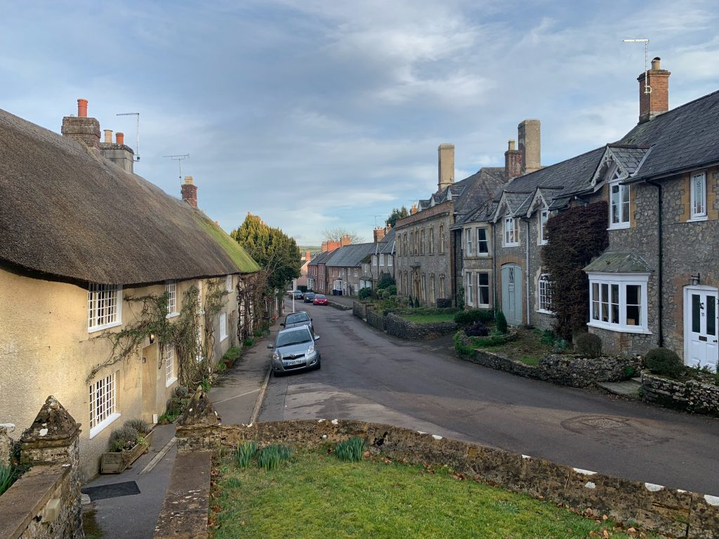 View of Fore Street in Evershot, Dorset