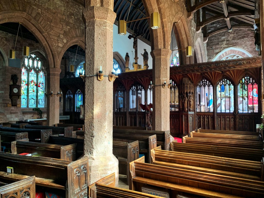 View of the Nave and Rood Screen at the Church of St Andrew, Kenn, near Exeter, Devon