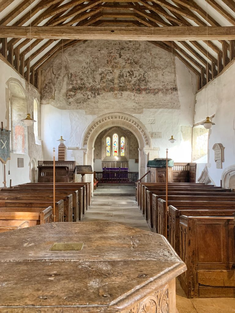 Interior of the Church of St Andrew at Great Durnford, Wiltshire