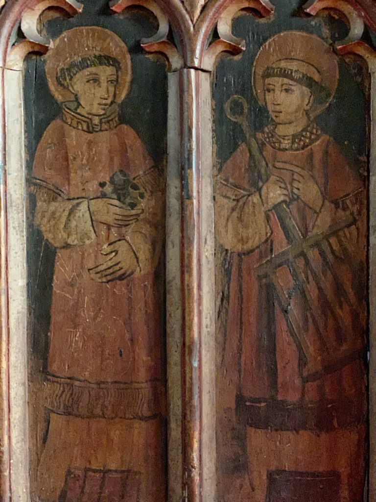 Details of Panels of Saints on the Rood Screen at the Church of St Andrew, Kenn, near Exeter, Devon