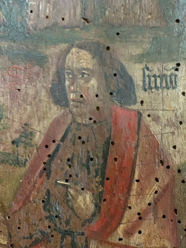 Detail of a Saint on the Rood Screen at St. Martin's Church, Sherford, the South Hams, Devon