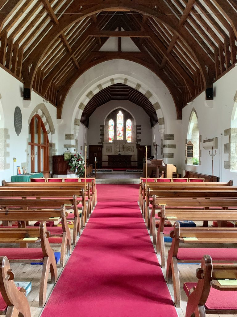 Interior of the Church of the Holy Trinity at Galmpton, South Hams, Devon