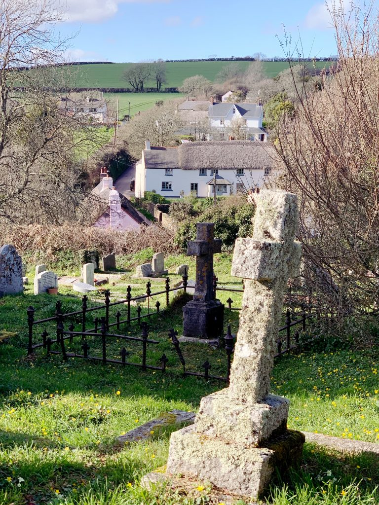 Churchyard at St Martin's, Sherford, the South Hams, Devon