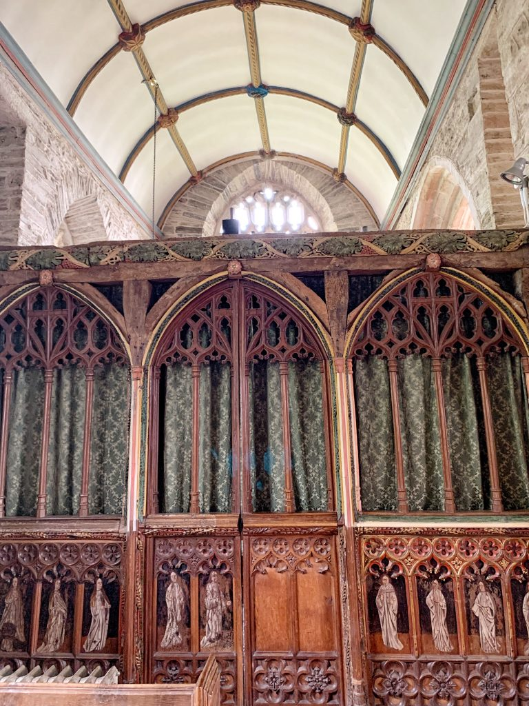 View of the Screen in the Church of All Saints at South Milton, the South Hams, Devon