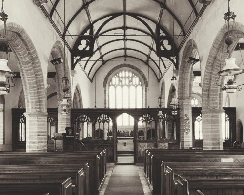 View of the Chancel and the Nave at the Church of St Martin, Sherford, the South Hams, Devon