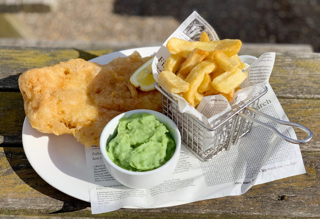 Fish and Chips at the Cricket Inn, Beesands, The South Hams, Devon