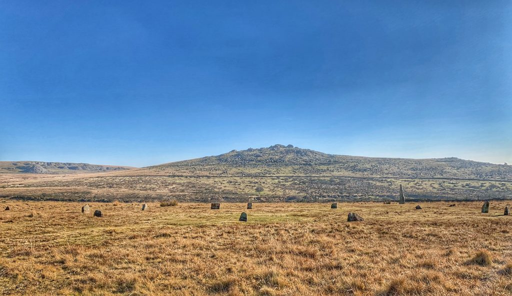 Stone Circle at the prehistoric settlement of Merrivale, near Princetown, on Dartmoor in Devon