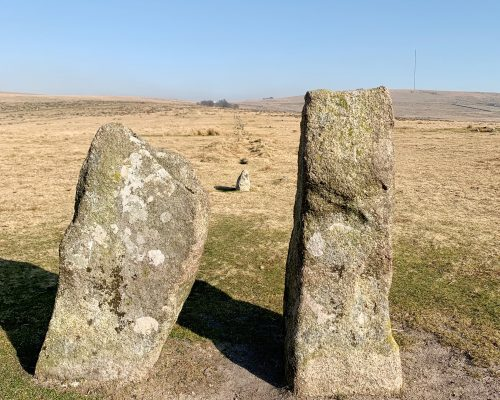 View of stone row (or avenue) at the prehistoric settlement of Merrivale near Princetown, on Dartmoor, Devon