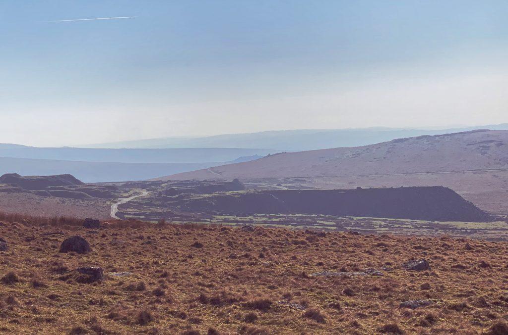Distant view of Foggintor Quarry near Princetown on Dartmoor, Devon