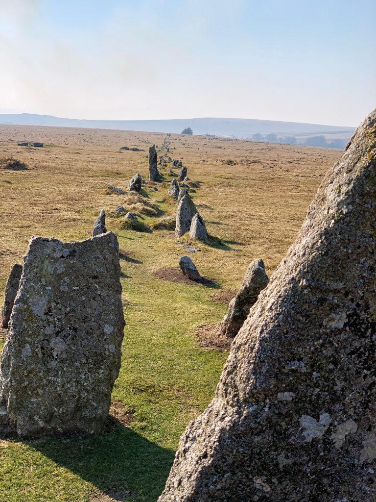 View of Stone row (or avenue) at the prehistoric settlement of Merrivale, near Princetown on Dartmoor, Devon