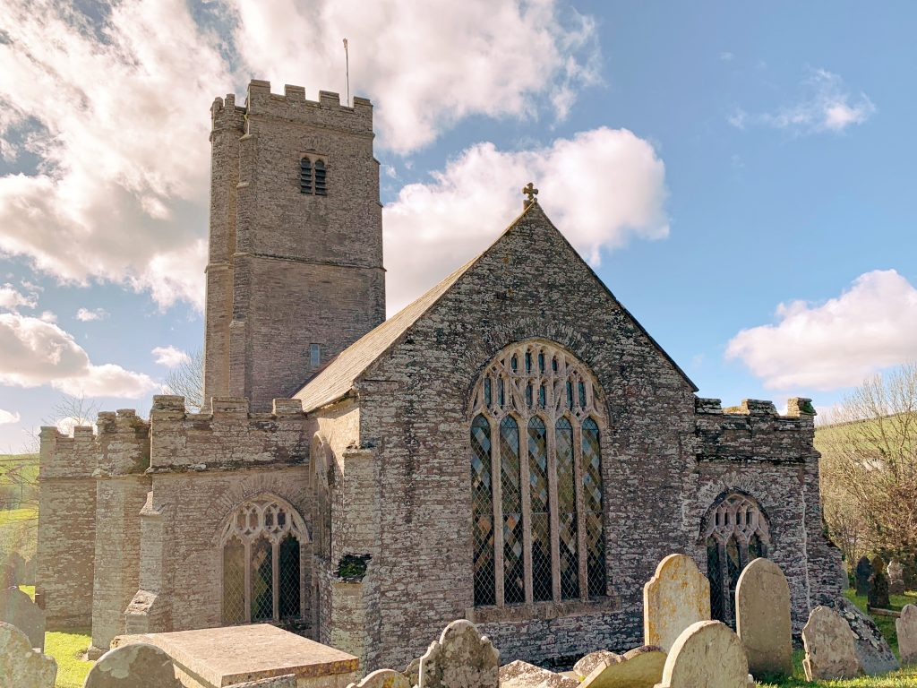 Exterior of St. Martin's Church at Sherford in the South Hams, Devon