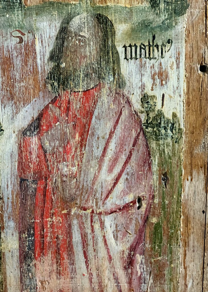 Detail of a Saint on the Rood Screen at St. Martin's Church, Sherford, the South Hams