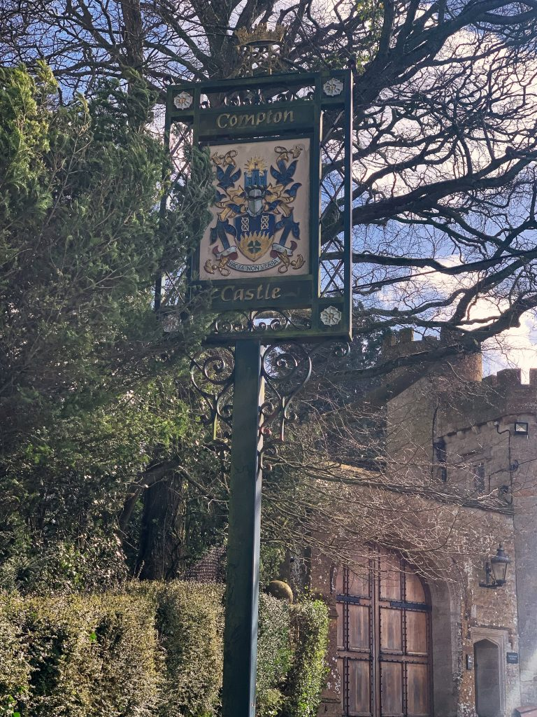 Compton Castle sign at Compton Pauncefoot, Somerset
