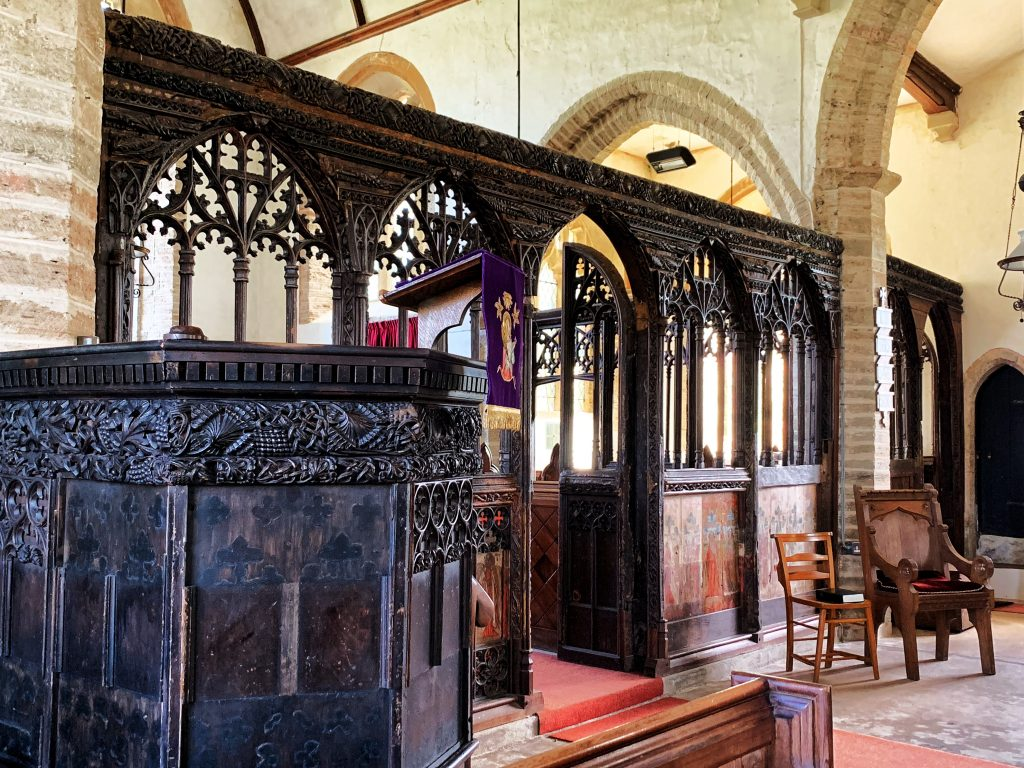 Rood Screen and Pulpit at the Church of St Martin, Sherford, the South Hams, Devon