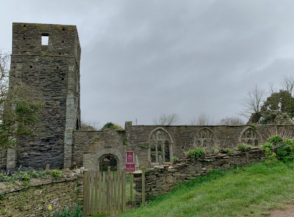 View of the ruined church of South Huish, South Hams, Devon