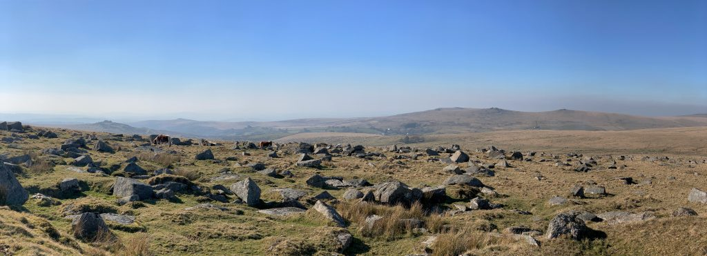 View from hill above Foggintor Quarry, near Princetown on Dartmoor, Devon