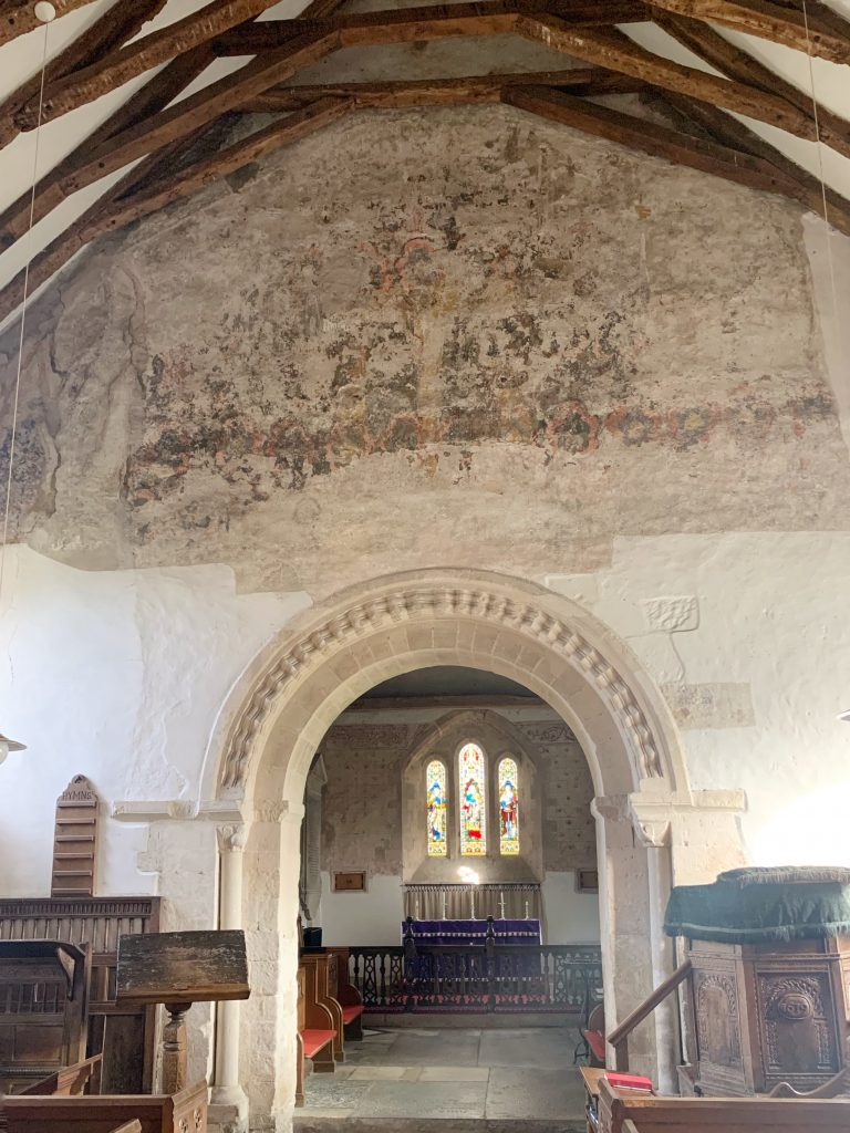 12th Century Doom? Wall painting on the Chancel Arch at the Church of St Andrew, Great Durnford, Wiltshire
