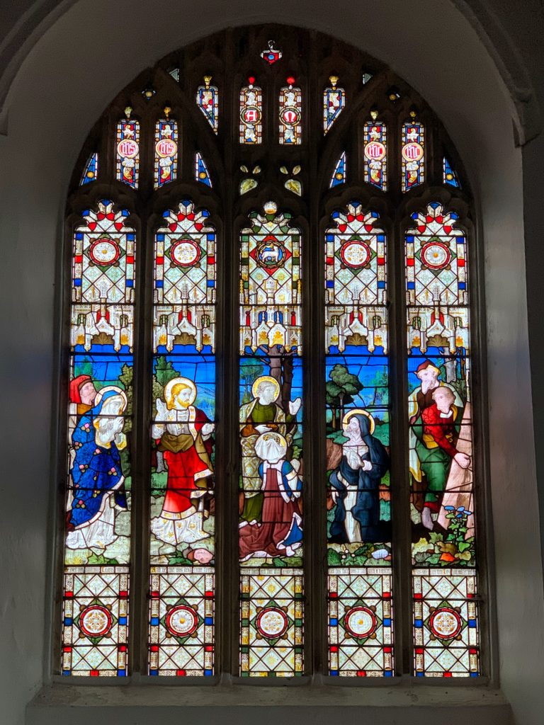 Stained glass in the Lady Chapel at the Church of All Saints, Malborough, South Hams, Devon