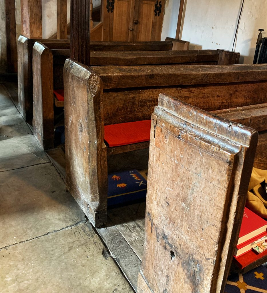 14th Century Rough Hewn Pews at the Church of St Andrew at Great Durnford, Wiltshire