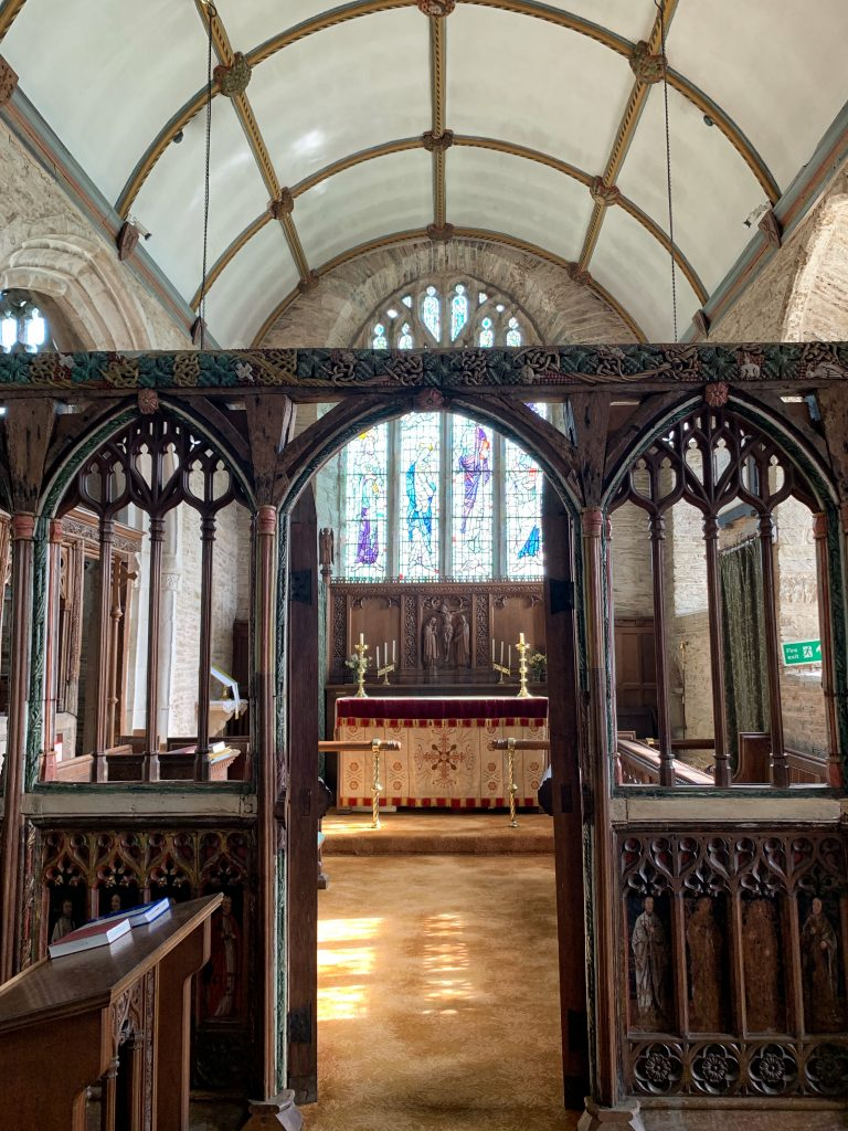 View of the Rood Screen and the Chancel in the Church of All Saints at South Milton, the South Hams