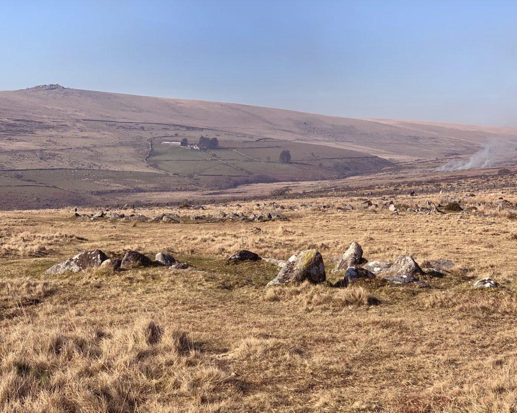 Bronze Age hut circles at the prehistoric settlement of Merrivale, near Princetown on Dartmoor, Devon