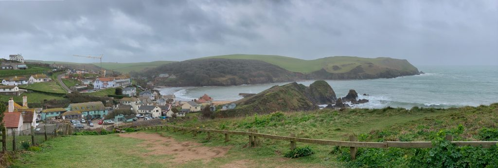 Panoramic vie of Hope Cove from the South West footpath from Thurlestone direction