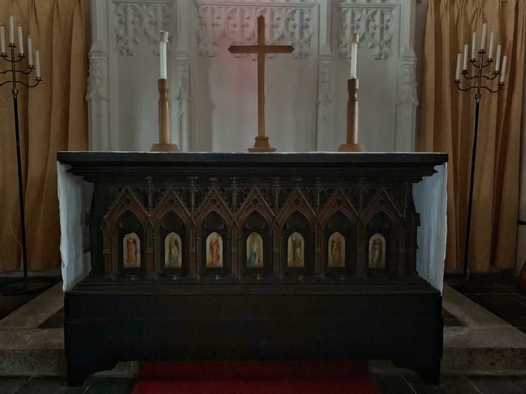 The 'Cologne Altar by Richard Hurrell Fronde at the Church of All Saints, Malborough, South Hams, Devon