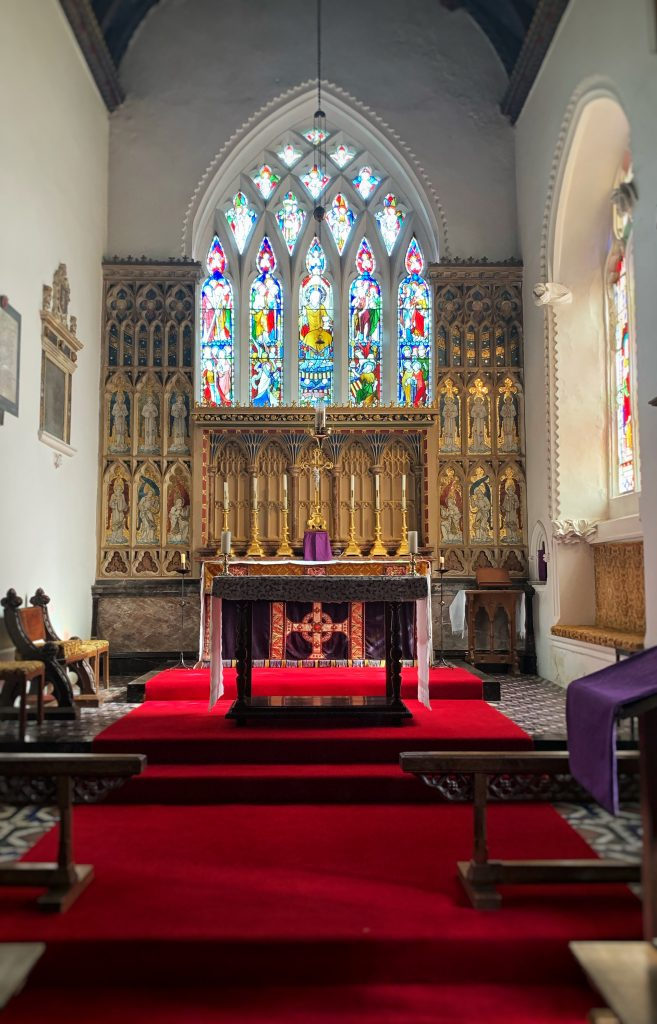 Altar and decorated screen in the Church of Kenn in Devon