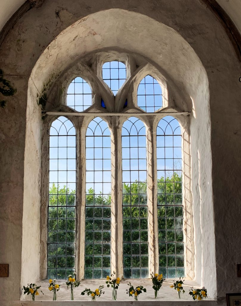 Window at the Church of St Protus and St Hyacinth, Blisland, Bodmin Moor, Cornwall