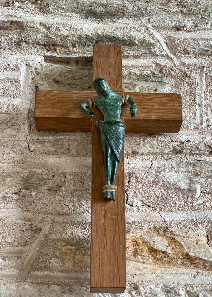 Bronze Crucifix, dated to c.1150AD at the Church of All Saints at South Milton , The South Hams, Devon
