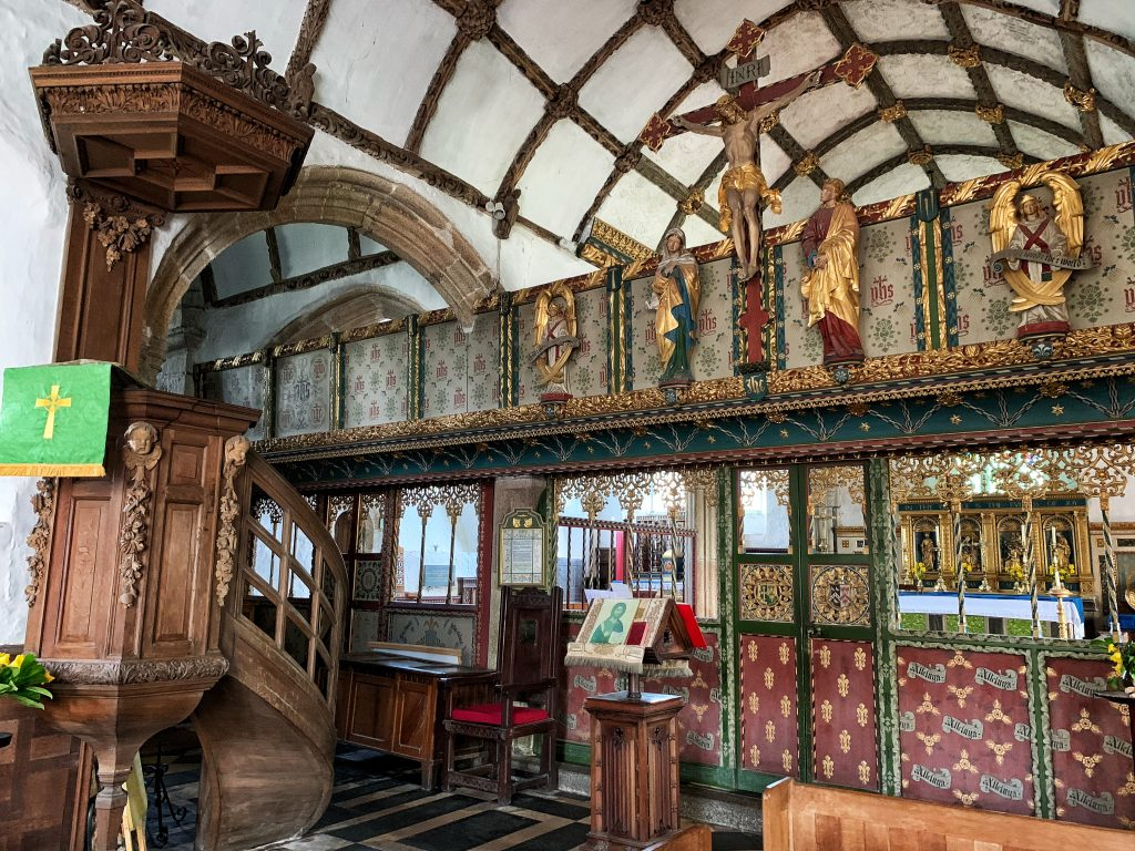 View of the Rood Screen, Rood and Rood Loft by F C Eden in 1894-96 at the Church of St Protus and St Hyacinth, Blisland, Bodmin Moor, Cornwall