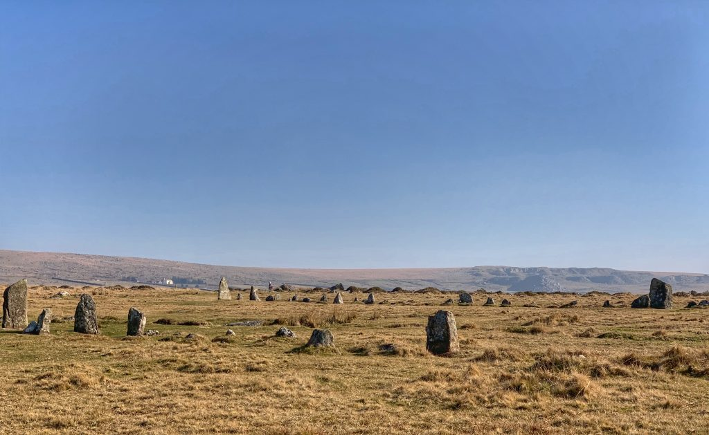 View of two stone rows (or avenues) at the prehistoric settlement of Merrivale, near Princetown on Dartmoor, Devon