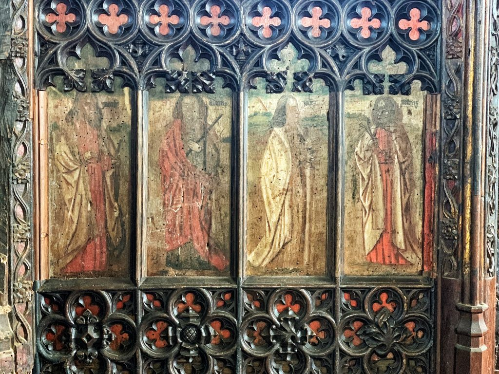 Details of saints on the Rood Screen at St. Martin's Church, Sherford, the South Hams, Devon