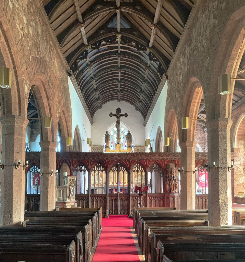 Looking towards the Chancel at the Church of St Andrew, Kenn, near Exeter, Devon