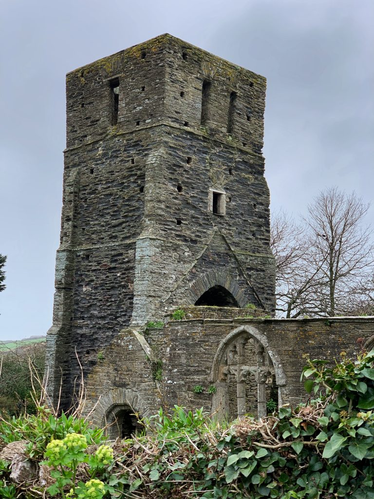 View of the tower of the ruined church at South Huish, South Hams, Devon