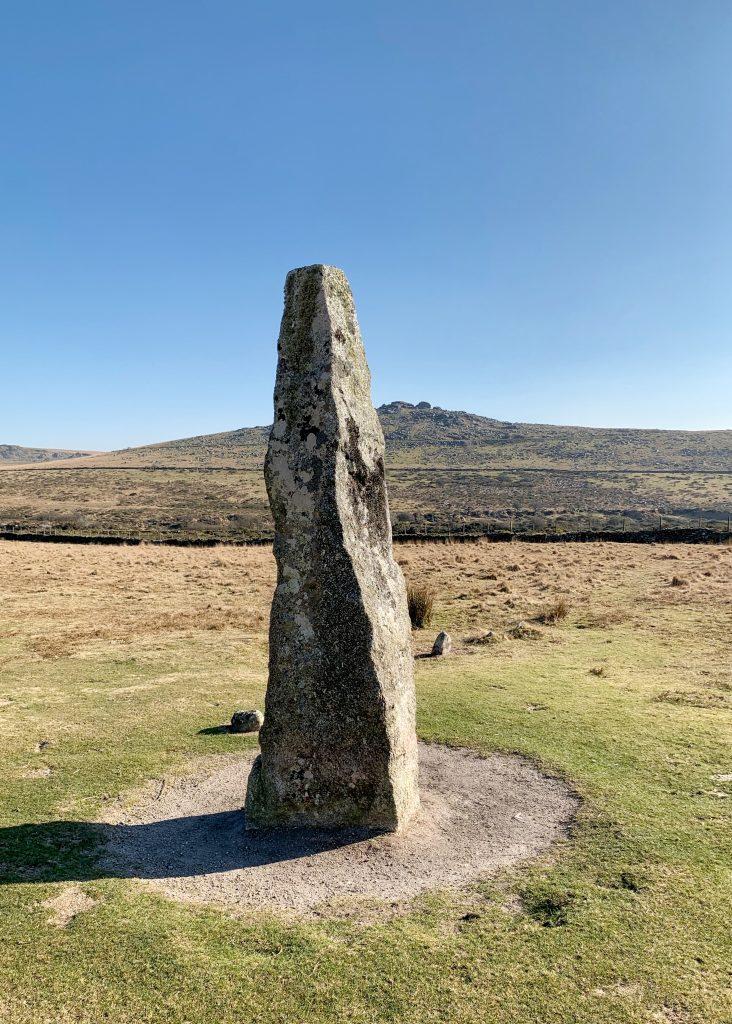 Menhir (Standing Stone) at the prehistoric settlement of Merrivale, near Princetown on Dartmoor, Devon