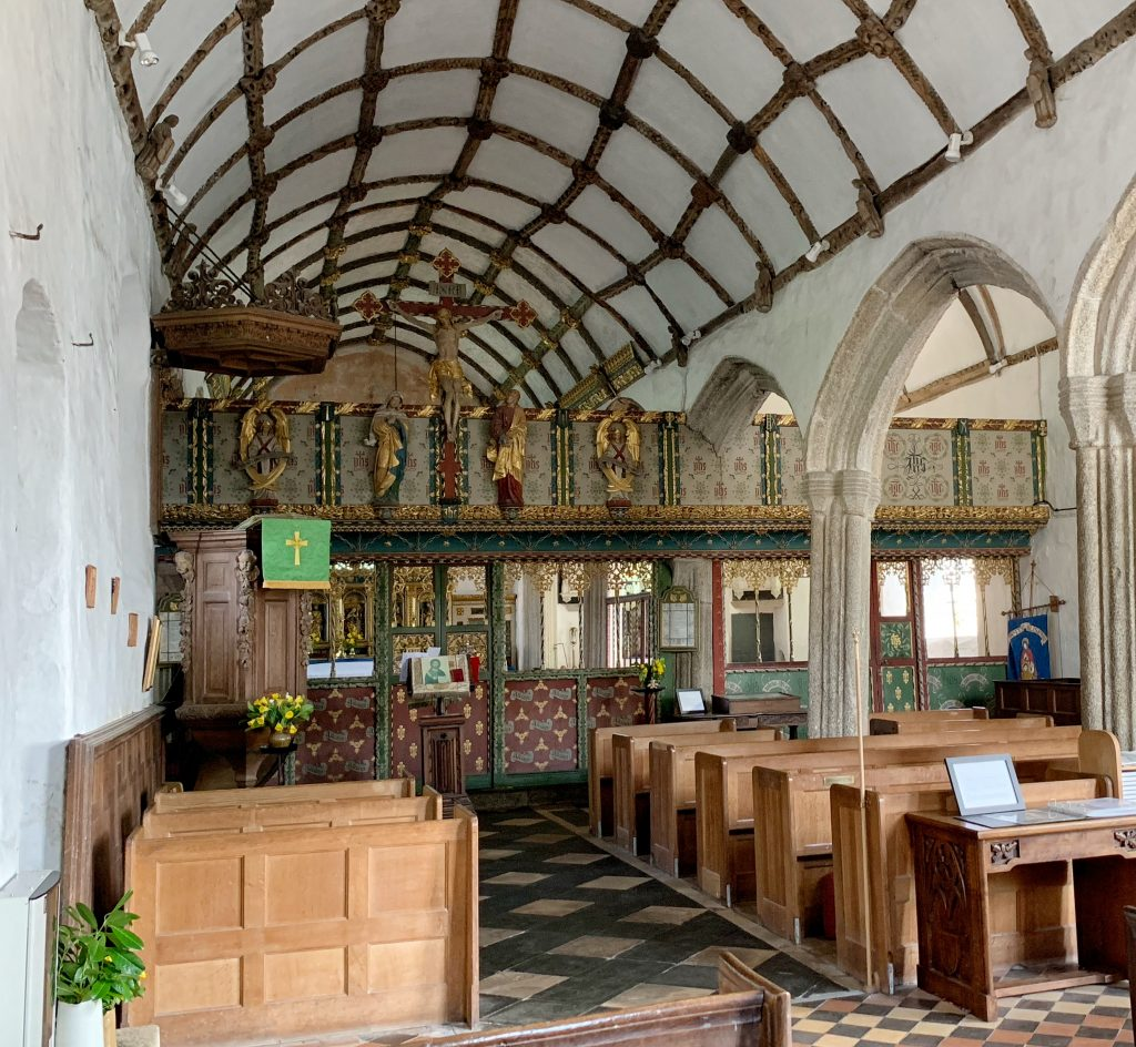 Interior of the Church of St Protus and St Hyacinth, Blisland, Bodmin Moor, Cornwall