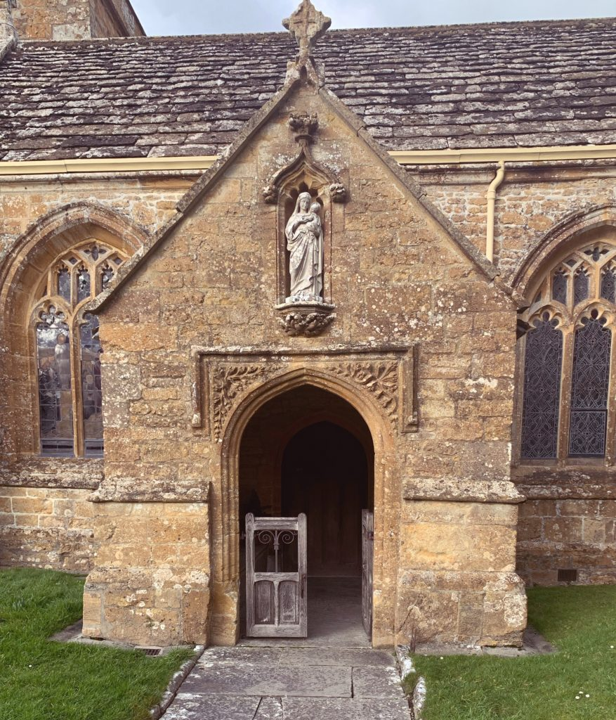 View of the Entrance porch at the Churchof St Mary the Virgin, Compton Pauncefoot, Somerset