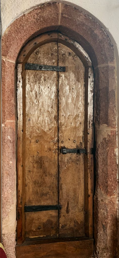 Door to stairs leading through to Rood Loft at the Church of St Andrew, Kenn, near Exeter, Devon