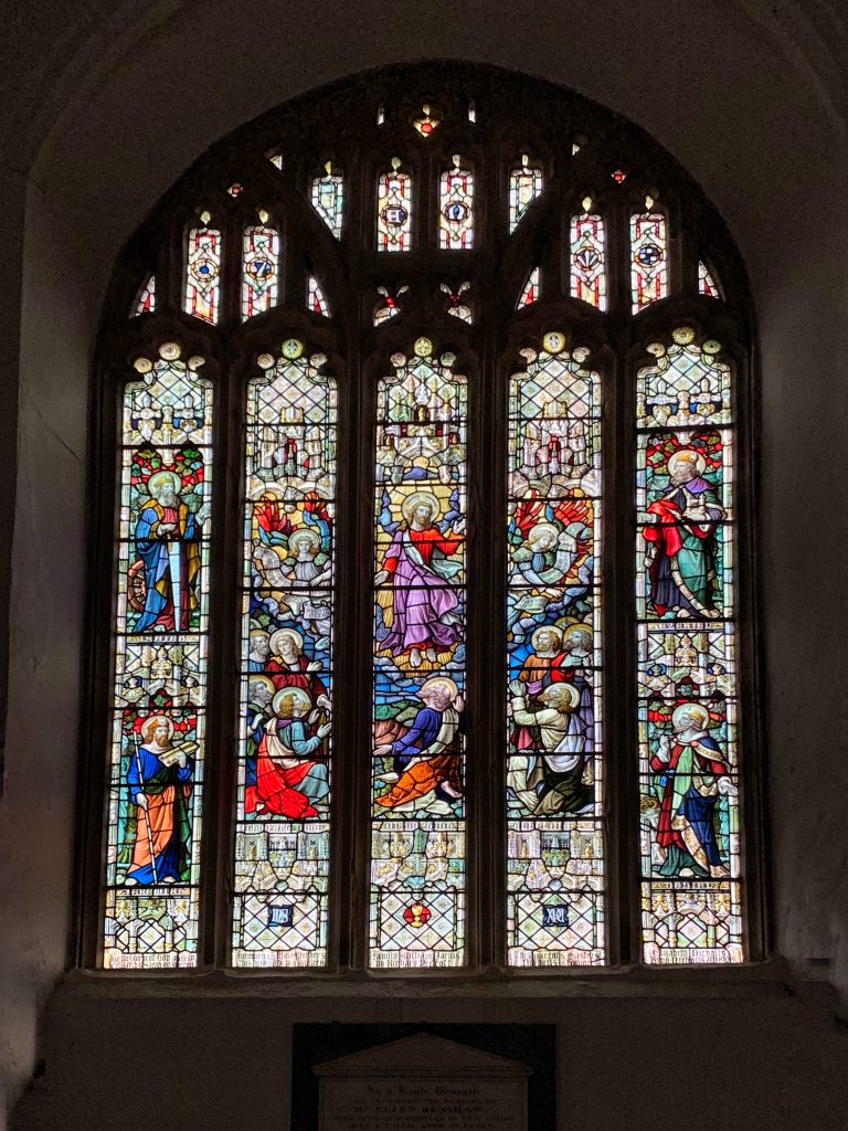 Stained Glass Window in the Church of All Saints, Malborough, South Hams, Devon