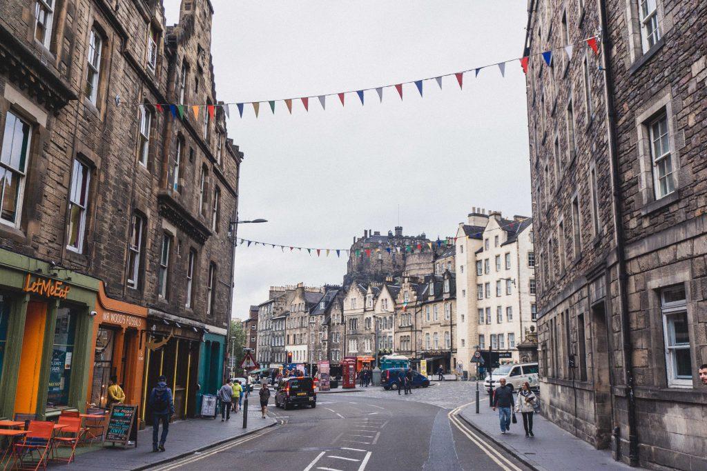 Grassmarket Edinburgh in the winter, a literary city and the capital of Scotland