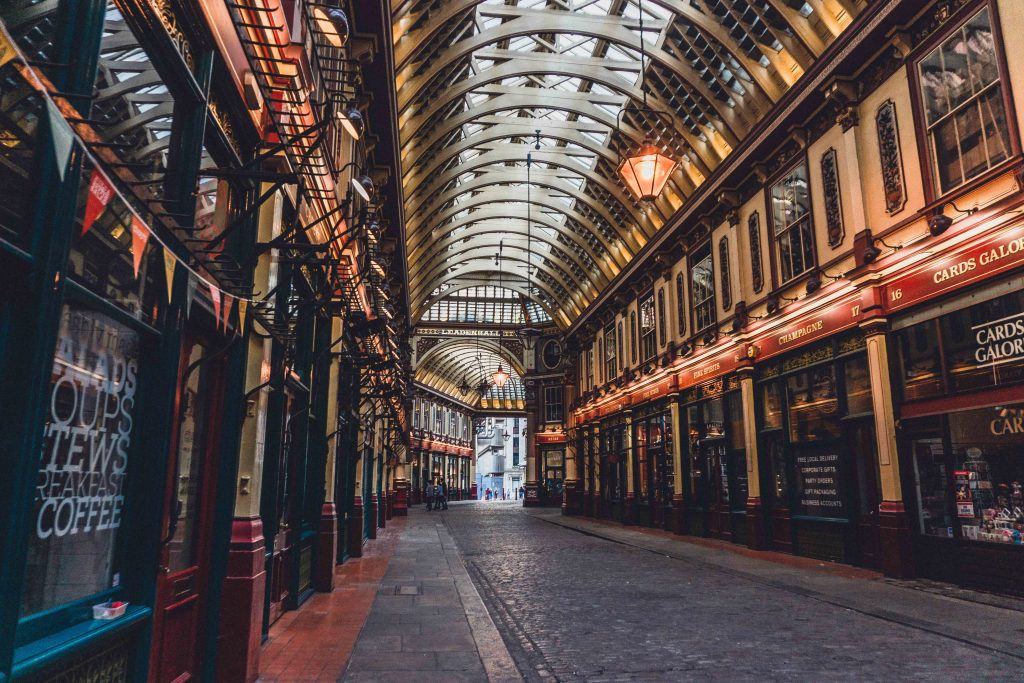Leadenhall market, city of London, england